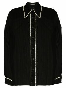 Miu Miu crystal embellished sheer blouse - Black