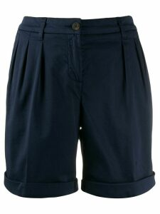 Fay pleat detail turn up cuff shorts - Blue