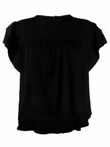 Isabel Marant ruffle sleeve boxy top - Black