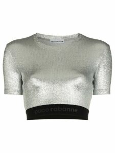 Paco Rabanne metallic logo embroidered crop top - SILVER