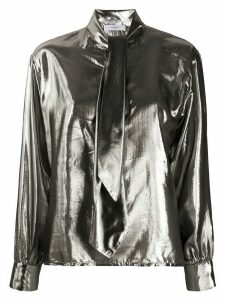 Roseanna metallic tied neck shirt - SILVER