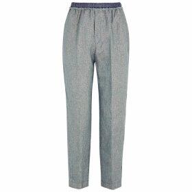 Forte forte Blue Metallic-weave Linen-blend Trousers