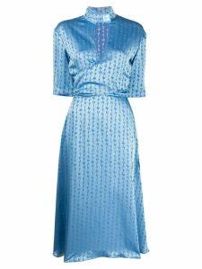 Off-White jacquard logo midi dress - Blue