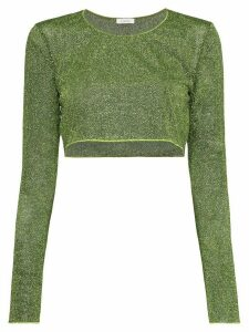 Oséree Lumiere Lurex cropped top - Green