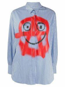 Moschino spray-print striped shirt - White