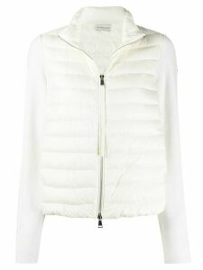 Moncler knitted-sleeve quilted down jacket - White