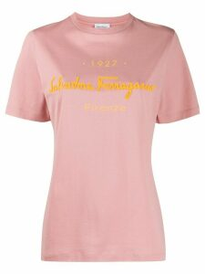 Salvatore Ferragamo embossed-logo T-shirt - PINK