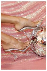 Moment Iridescent Perspex Heeled Mules, Clear