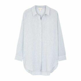 EILEEN FISHER White Striped Cotton-blend Shirt