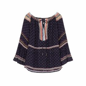 Free People Talia Navy Embroidered Gauze Blouse