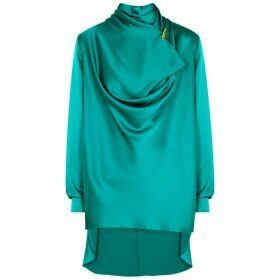 Roksanda Limela Teal Draped Silk Blouse