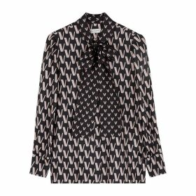 Valentino Black Logo-print Silk Blouse