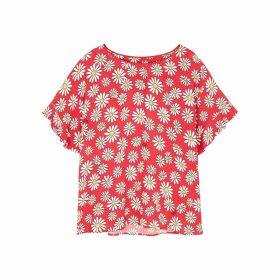 Boutique Moschino Red Daisy-print Chiffon Top