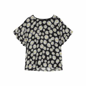 Boutique Moschino Black Daisy-print Chiffon Top