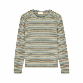 Stine Goya Maya Striped Metallic-knit Top