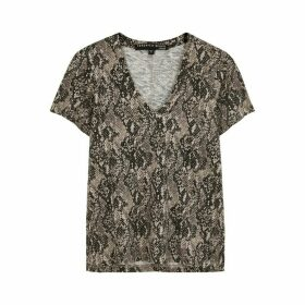 Veronica Beard Casey Python-print Cotton T-shirt