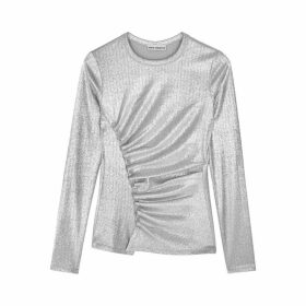 Paco Rabanne Silver Ruched Lamé Top