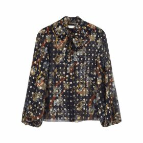 Chloé Navy Printed Fil Coupé Silk Blouse