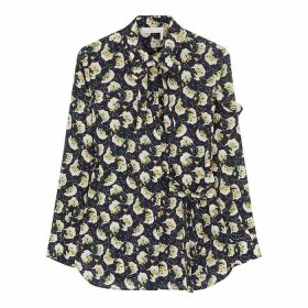 Chloé Navy Floral-print Silk Blouse