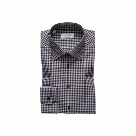 Eton Brown Checked Fine Twill Shirt - Contemporary Fit