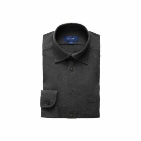 Eton Grey Flannel Button-under Collar Shirt - Slim Fit