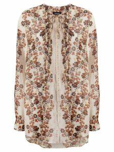 Dsquared2 floral tie neck blouse - NEUTRALS