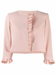 LIU JO ruffle trim cropped jacket - PINK
