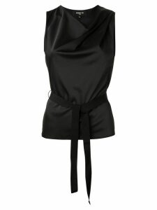 Paule Ka belted draped top - Black