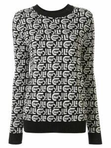 Être Cécile logo-pattern jacquard jumper - Black