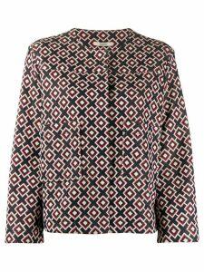 Odeeh geometric print jacket - Blue