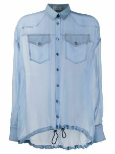 Brunello Cucinelli sheer silk blouse - Blue