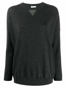 Brunello Cucinelli bead-embellished crewneck jumper - Grey
