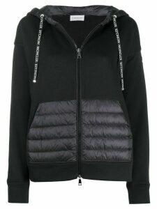 Moncler zip up padded detail hoodie - Black