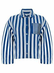 Coohem striped knit shirt jacket - Blue