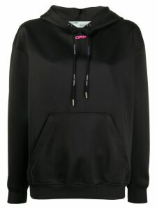 Off-White logo print oversized hoodie - Black