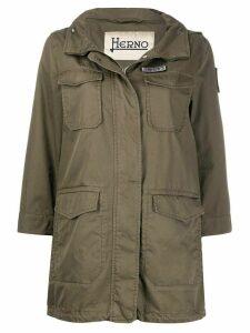 Herno flap-pocket hooded parka - Green