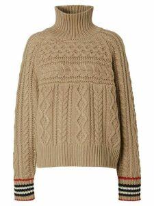 Burberry Icon stripe cuff jumper - NEUTRALS