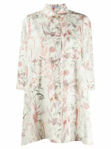 Agnona oversized floral-print shirt - NEUTRALS