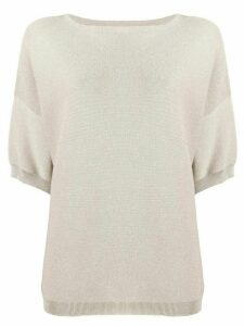 Fabiana Filippi short-sleeved knitted top - NEUTRALS