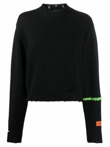 Heron Preston embroidered distressed jumper - Black