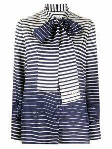 Valentino striped pussy-bow blouse - Blue