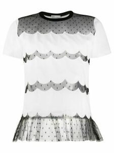 RedValentino lace panels short-sleeved T-shirt - White