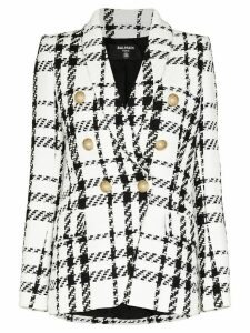 Balmain double-breasted checked tweed blazer - White