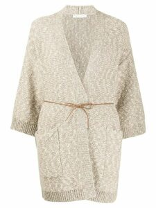 Fabiana Filippi oversized tie-waist cardigan - NEUTRALS