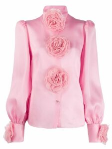 Dolce & Gabbana embroidered roses shirt - PINK