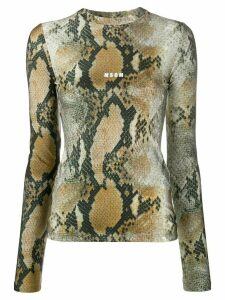 MSGM snakeskin-print long-sleeved top - Green