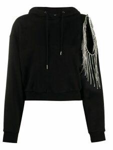 AREA hanging rhinestone hoodie - Black