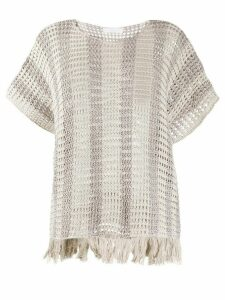 Fabiana Filippi chunky knit fringed edge top - NEUTRALS