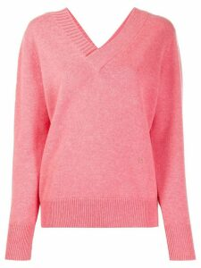 Victoria Beckham double V-neck knitted jumper - PINK