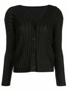 Pleats Please Issey Miyake ribbed buttoned cardigan - Black